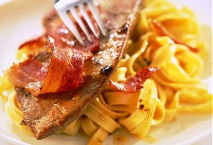 Thin Slices of Calf's Liver with Bacon and Fresh Pasta