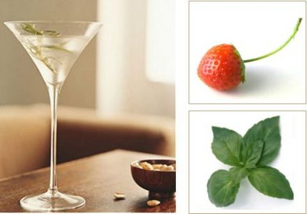 Vodka, Strawberry and Fresh Basil Martini