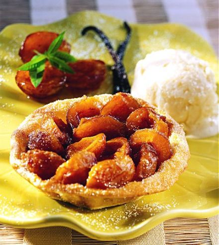 Mirabelle Tarts with Olive Oil Ice Cream