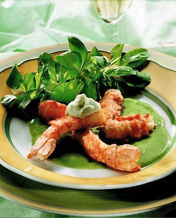 Cream of Mâche (Lamb's Lettuce) with Roast Langoustines