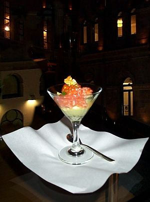 Avocado Mousse with Ocean Trout Tartare and Caviar