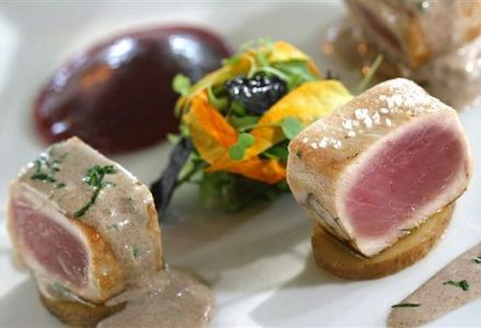Seared Tuna Medallions with Herb Mousseline and Beet Ravioli