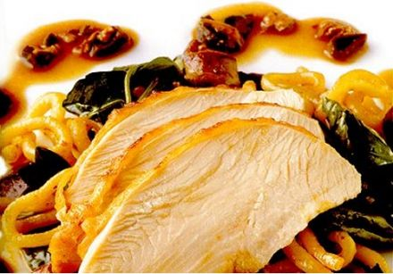 Turkey Breast with Bigoli Pasta and Giblet-Foie Gras Sauce