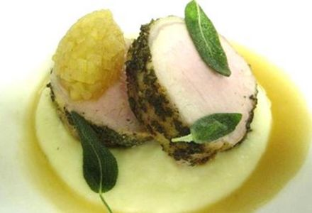 Roast Pork Loin with Maple-Scented Turnip Puree, Apple Marmalade & Sage Jus