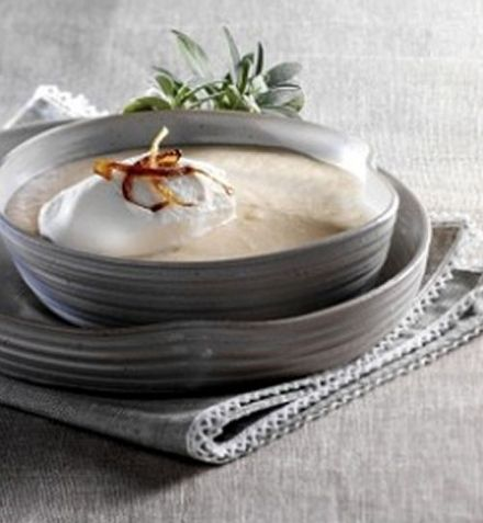 Cream of Shallot Soup with Whipped Bacon Cream