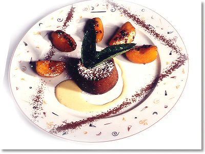 Dark Chocolate Cake with Roasted Apricots and Tonka Bean Crème Anglaise