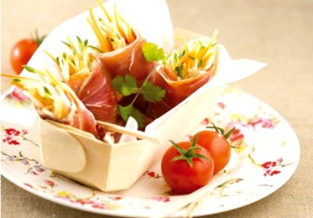 Dried Ham Rolls with Julienned Vegetables and Anchoiade