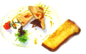 Duck Foie Gras Marinated in Madeira with Lavender Honey Sauce
