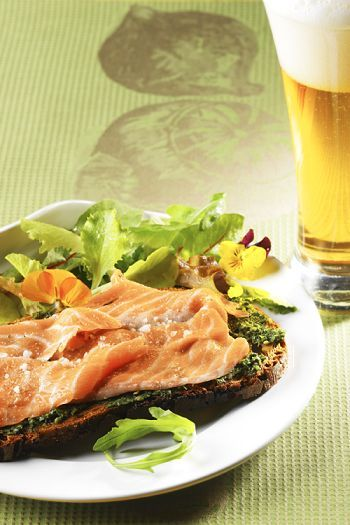 Salmon Marinated in March Beer