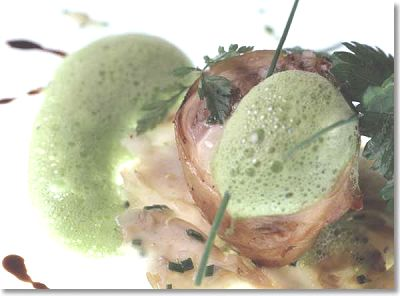 Stuffed Rabbit with Herbs, Pancetta and Parsley Jus