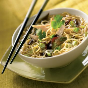Chicken, Egg Noodle and Black Mushroom Soup