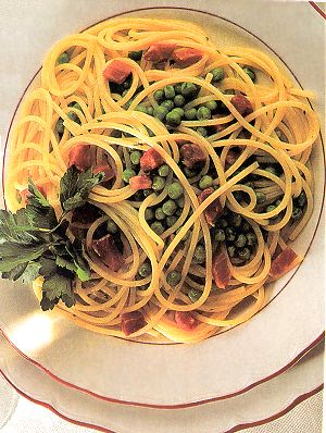 Spaghetti with Peas and Prosciutto