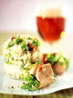 Pork Roulades with Fresh Herbs and Green Risotto with Beer