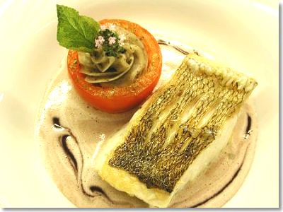 Pike-Perch Fillet with Violet Mustard Sauce and Stuffed Tomato