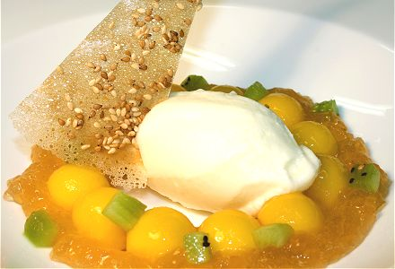 Mango Balls with Lemongrass Jelly and Yogurt Sorbet