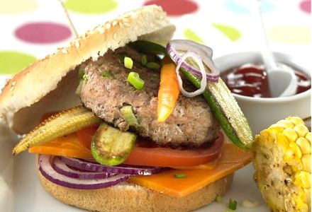 Veal Burger with Baby Vegetables