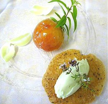 Peaches Poached in Fresh Lemon Verbena Juice with Verbena Sorbet and Rosemary Tuiles