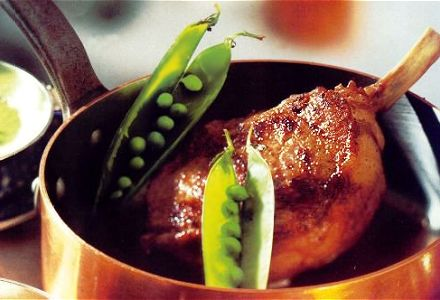 Milk-Fed Veal Chop with Truffled Jerusalem Artichokes, Creamed Peas and Arabica Jus