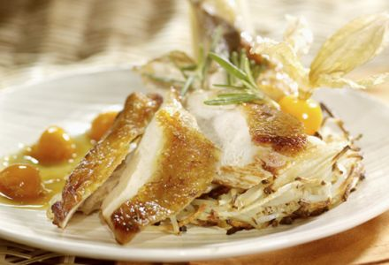 Guinea Fowl Breasts with Ground Cherries and Buckwheat Honey