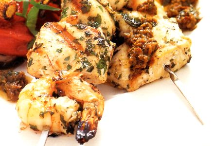 Swordfish, Scallop and Shrimp Kebabs with Sundried Tomato Aioli