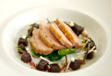 Pan Roasted Polderside Duck Breast, Parsnip Cream, Beets and Brussel Sprouts