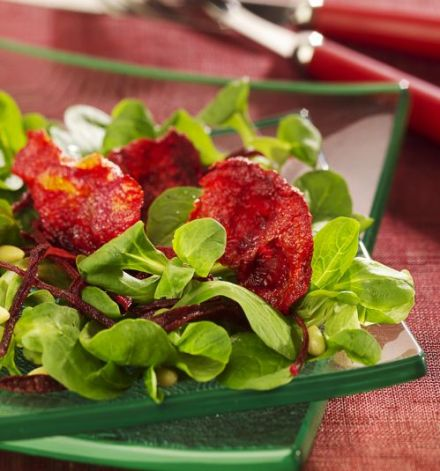 Lamb's Lettuce Salad with Red Beet Chips