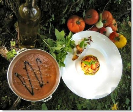 Chilled Tomato Soup with Crayfish and Garlic-Rubbed Toast Rounds with Olives
