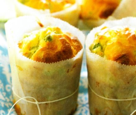 Pea, Chevre and Lemon Muffins