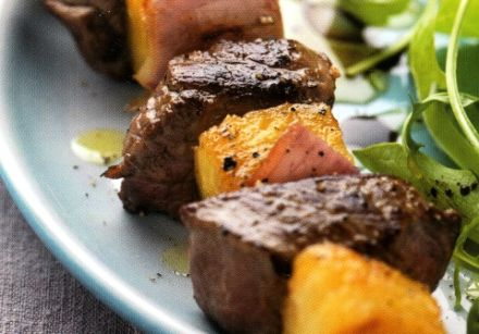 Sweet-Sour Beef and Pineapple Kebabs