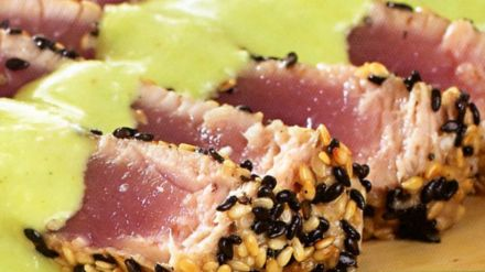 Pan seared sesame-crusted tuna steaks