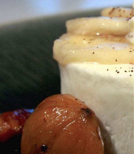 Coconut-Banana Blanc Manger with Roasted Chestnuts