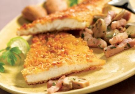 Breaded Fish with Bacon Bits