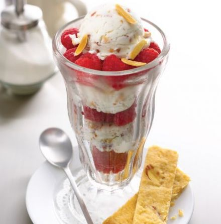 Toasted almond sherbet with raspberries
