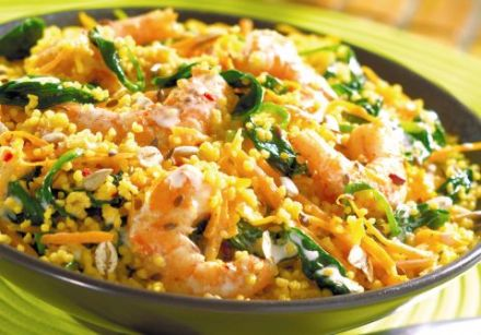 Sautéed Shrimp with Vegetables and Spiced Couscous