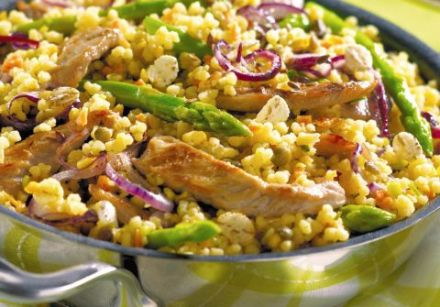 Sautéed Veal and Asparagus with Couscous