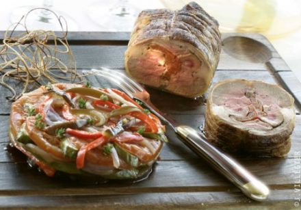 Whole Roast Saddle of Lamb with Roasted Vegetable Escalivada