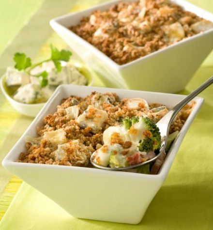 Individual Vegetable Casseroles with Bresse Blue Cheese and Gingerbread Crumble