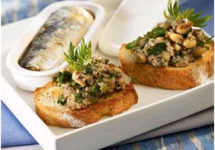 Sardine Toasts with Parsley and Toasted Pine Nuts