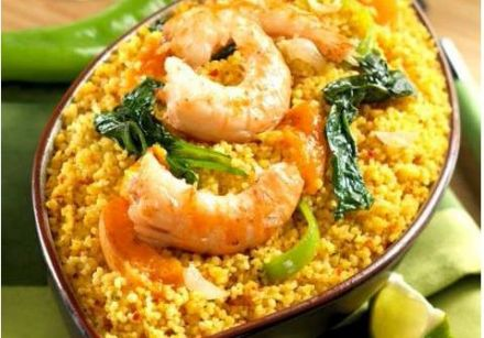 Pan-seared prawns with apricots and spiced couscous