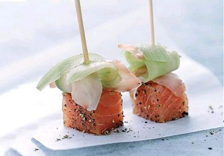 Salmon Lollipops with Pickled Ginger and Cucumber