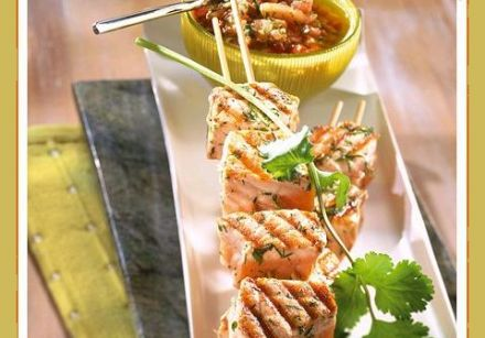 "Salmon Skewers with ""Dog Sauce"""