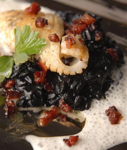 "Squid ""a la plancha"", acquarello rice with squid ink and Parmigiano..."