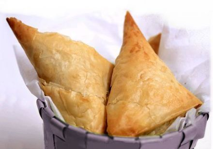 Tiropitakias - brick pastry triangles filled with fresh cheese