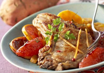 Grilled Pork Chops with Caramelized Grapefruit