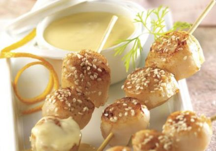 Sesame Scallop Skewers with Beurre Blanc