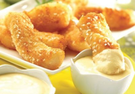 Fish Nuggets with Beurre Blanc Sauce