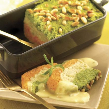 Carrot and Broccoli Terrine with Lemon Butter Sauce