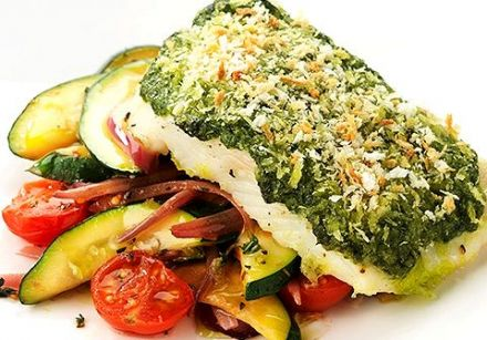 Roasted halibut with vegetables