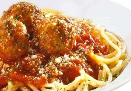 Spaghetti and Meatballs (sausage meat and parmesan)