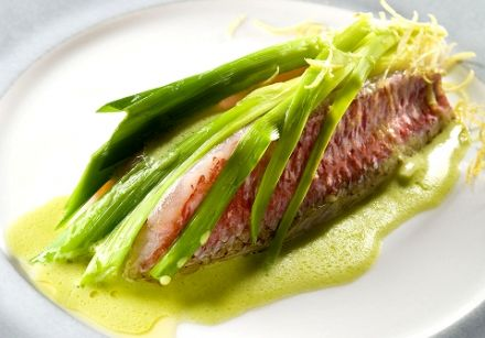 Red Mullet with Lemon Leek Fondue and Lime Vermouth Sauce
